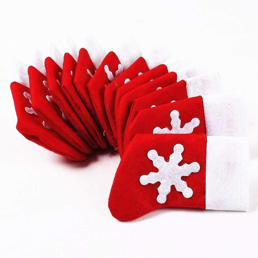 Topways® Confezione 12 di Natale della decorazione della Tabella dei calzini di Natale Posate tasche Holder (12 pcs Xmas Table Decoration Christmas Cutlery Holder Socks Pockets)