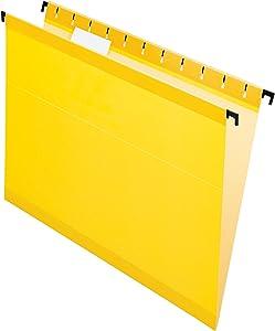 Pendaflex SureHook Reinforced Hanging Folders, Letter Size, Yellow, 20 per Box (6152 1/5 YEL)