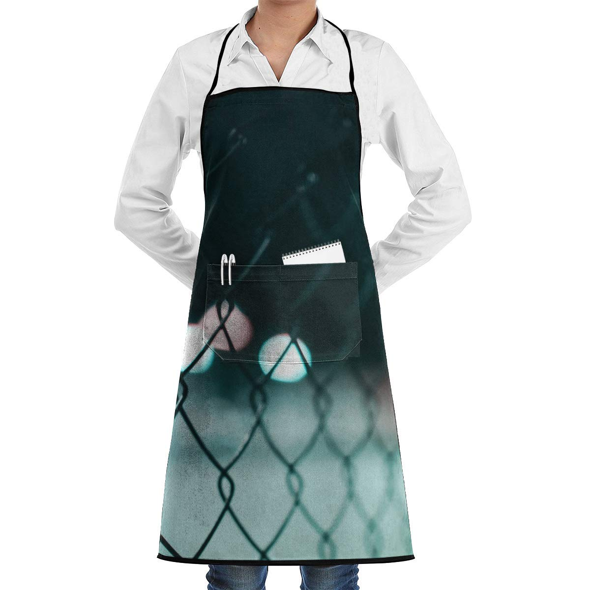 Black Steel Cyclone Fence Aprons Bib for Mens Womens Paint String Adjustable Adult Kitchen Waiter Aprons with Pockets