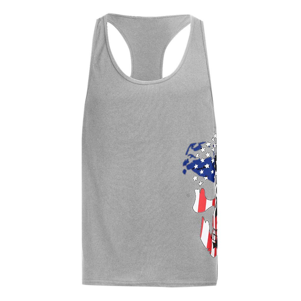 Men's Tank Top Shirt Sleeveless Independence Day Printing Sports for Gym Fitness Bodybuilding Running Jogging (XXL, Gray) by Yihaojia Men Blouse (Image #2)
