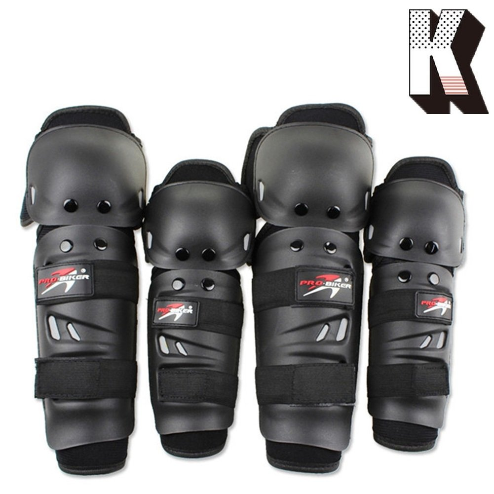 Kagogo Shin Guards Adult Elbow & Knee Pads Protector Flexible Breathable Adjustable Elbow Armor for Motorcycle Motocross Racing Mountain Bike, One size Fits Most,4 Pieces Black (Black01)