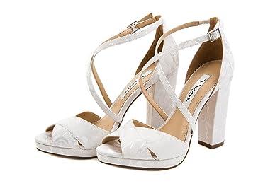 97965d04d0db3 Nina Shoes Damen Riemchen Sandalette High Heels Hochzeit Gr. 37 Weiß ...