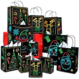 Christmas Holiday Glow-In-The-Dark Gift Bag   22 Piece 11 Bags Of 4 Different Designs, 3 Sizes Large medium small & 11 White Tissue Papers   Gift Set With Unique Luminous Festive Designs & Patterns