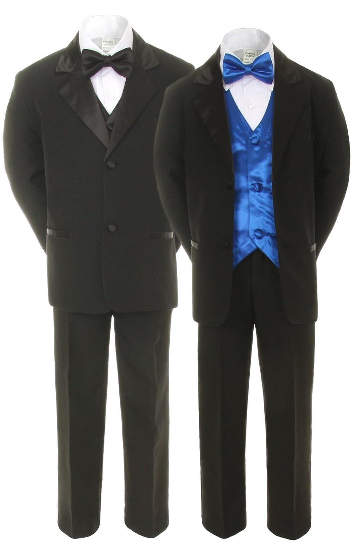 Amazon.com: Unotux 7pc Boys Black Suits Tuxedo with Satin Royal ...