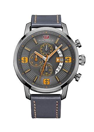 Amazon.com: Mini Focus hombre relojes correa de piel gris ...