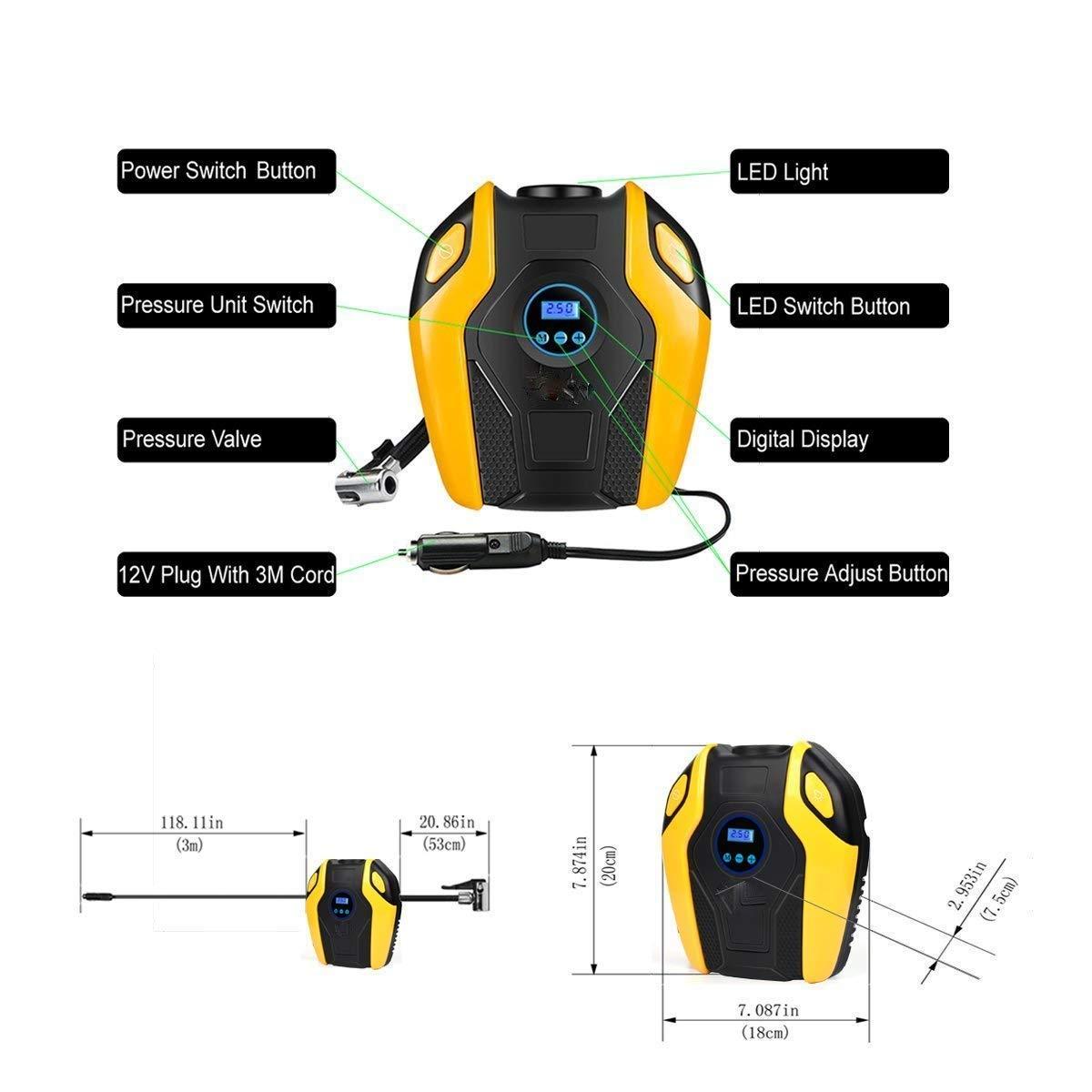 XYEU Compresor de Aire Eléctrico Portátil Digital, Inflador de Neumáticos Automóvil 12V 25L/Min 120W con Pantalla LCD y luz LED 150 PSI Apto para Hinchar ...