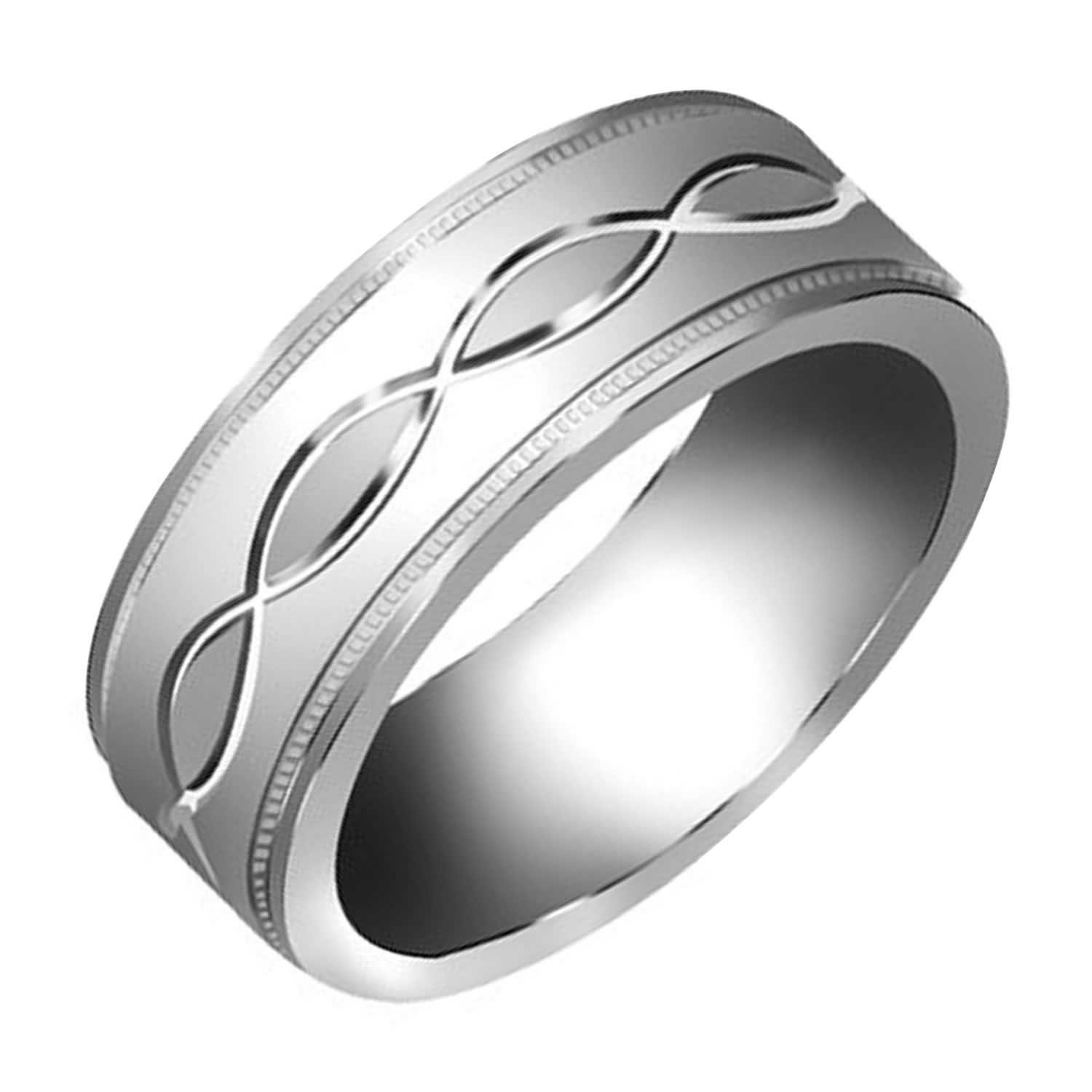 Amazon 14K White Gold Infinity Pattern Men s fort Fit
