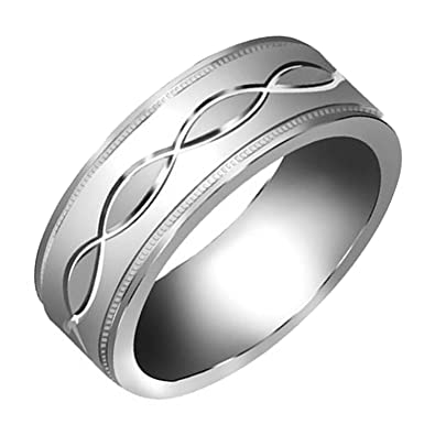 14k white gold infinity pattern mens comfort fit wedding band 7mm size 85 - Infinity Wedding Rings