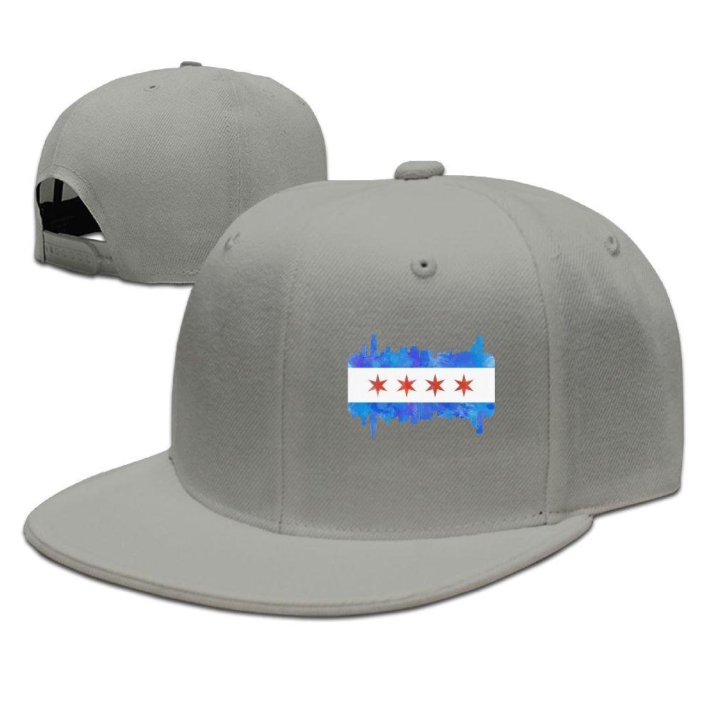 Amazon.com: Bhfadso Chicago Flag Watercolor Adjustable Hat Flat Along Baseball Flat Cap Black for Unisex: Clothing