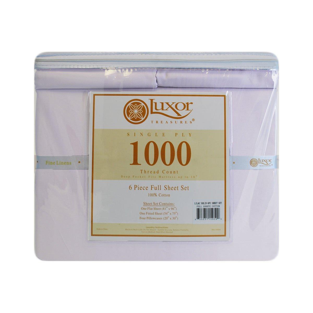 Impressions Superior - Juego de sábanas 137 x 190 cm, con Fundas de Almohada Extra, 100% algodón de 1000 Hilos, Color Lila Liso, 6 Piezas: Amazon.es: Hogar