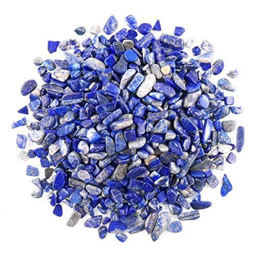 Swpeet 1.1 Pound Lapis Lazuli Small Tumbled Chips Stone Gemstone Chips Crushed Pieces Irregular Shaped Stones Crystal Chips Stone Perfect for Jewelry Making Home Decoration