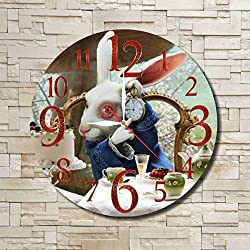 Alice in Wonderland - The White Rabbit 11.8'' Handmade Wall Clock - Get unique décor for home or office – Best gift ideas for kids, friends, parents and your soul mates
