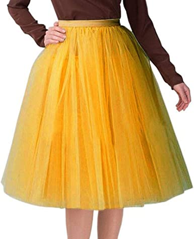 Falda de Tutu Mujer, SHOBDW Pettiskirt Fluffy Gasa Plisada ...