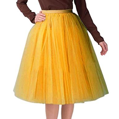 6e35b63295b12 Vectry Falda Amarillo Faldas Mujer Faldas Cortas con Vuelo Falda Larga Mujer  Falda Tubo Mujer Falda Tul Niña Falda con Vuelo Falda Tutu Falda Vaquera  Mujer  ...