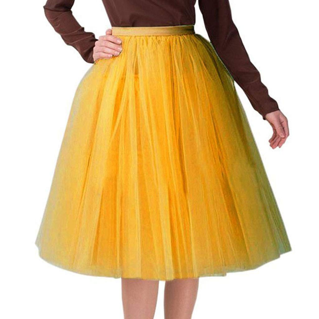 Women's Tea Length 6 Layer Tulle A-line Tutu Party Prom Cosplay Skirt High Waist Pleated Princess Bubble Skirts Yellow