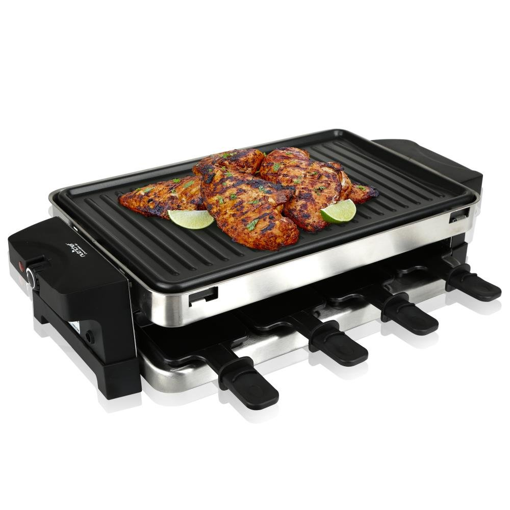 NutriChef Raclette Grill, Raclette Cheese, 8 Person Two-Tier Party Cooktop, Metal Grill Surface, Countertop Safe, 1000 Watt, 8 Paddles - Great for a Family Get Together or Party (PKGRST42)