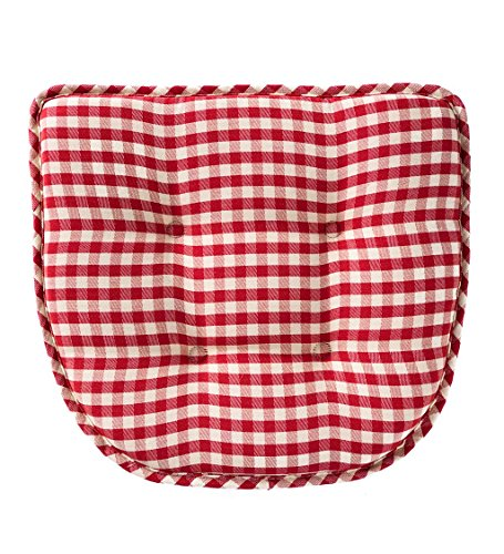 Non-Slip Tufted Gingham Chair Pad, 15 L x 16 W x 2 H - (Gingham Chair)