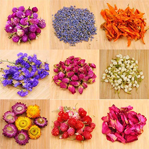 Oameusa Dried Flowers,Dried Flower Kit,Candle Making, Soap Making, AAA Food Grade-Pink Rose, Lily,Lavender,Roseleaf,Jasmine Flower,9 Bags (Herbs Dried Flowers)