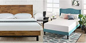Zinus Tricia Platform Bed/Mattress Foundation/Box Spring Replacement/Brown, King & 12 Inch Green Tea Memory Foam Mattress/CertiPUR-US Certified/Bed-in-a-Box/Pressure Relieving, King