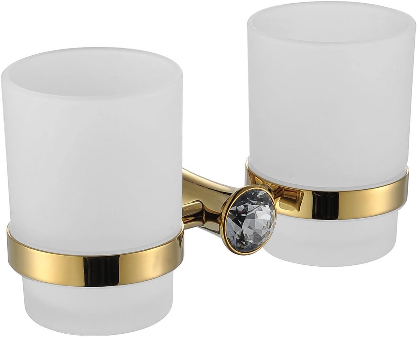 Dew diamantes y oro baño inodoro doble soporte para vasos tumbler ...