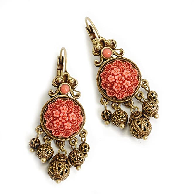 New 1940s Costume Jewelry: Necklaces, Earrings, Pins 1940s Coral & Filigree Leverback Earrings $34.00 AT vintagedancer.com