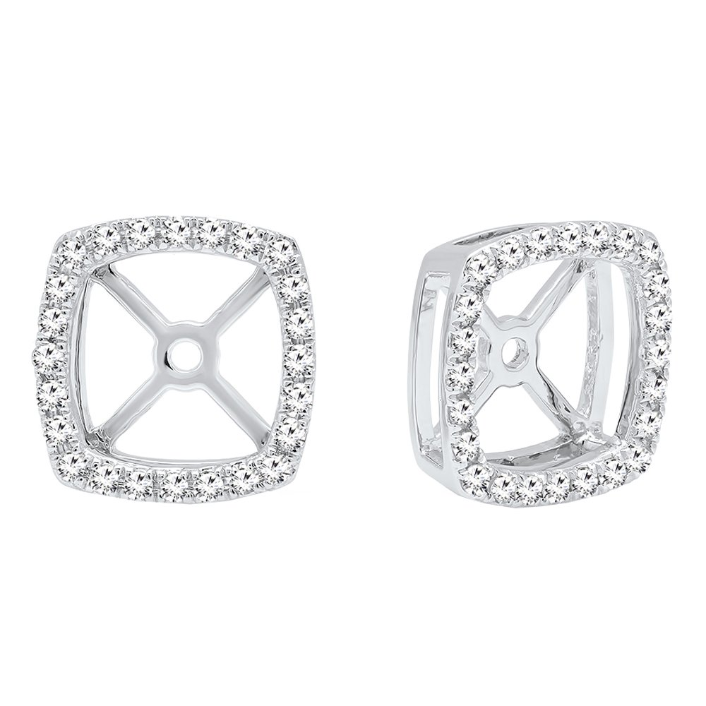 0.30 Carat (ctw) 10K White Gold Round White Diamond Removable Jackets For Stud Earrings 1/3 CT