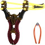 YUNYILAN Professional Slingshot Stainless Steel Outdoor Hunting Sling Shot High Velocity Catapult with 2 Rubber Bands
