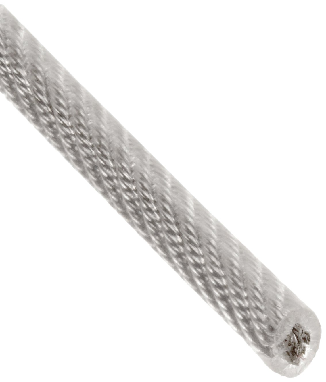 Galvanized Steel Wire Rope, Vinyl Coated, 7x7 Strand Core, 1/8'' Bare OD, 3/16'' Coated OD, 250' Length, 340 lbs Breaking Strength
