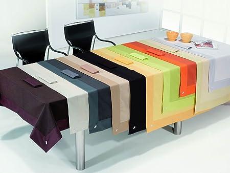 ESTELA - Mantel RÚSTICO Liso Color Beige - 155x200 - Incluye 8 servilletas - Confección en Aplique - Hilo Tintado - 50% Algodón / 50% Poliéster: Amazon.es: Hogar