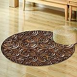 Small round rug Carpetwood thai pattern handmade wood carvings chiangmai thailand door mat indoors Bathroom Mats Non Slip-Round 35''