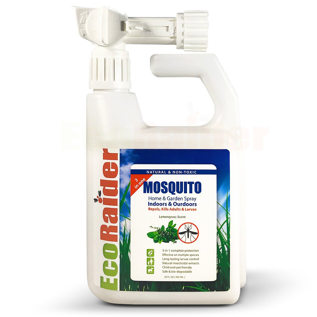 EcoRaider Mosquito Home & Garden Hose-end Spray (32 OZ), 3-in-One Kills Adults & Larvae plus Repels, Natural & Non-Toxic