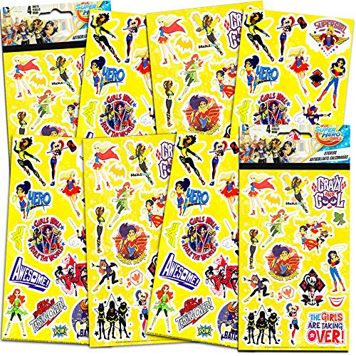 DC Super Hero Girls Stickers Party Favors Bundle - 8 Sheets of Superhero Girls Stickers Featuring Wonder Woman, Supergirl, Batgirl and More (Superhero Party Supplies) -