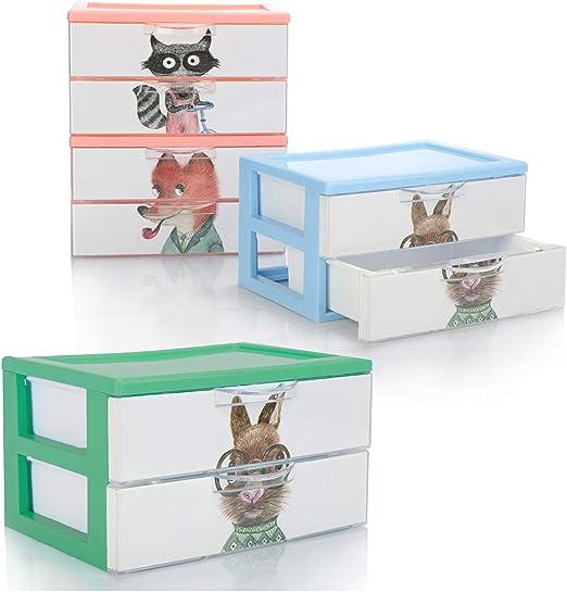 com-four® Caja de cajones 4X, Caja de plástico para Guardar ...