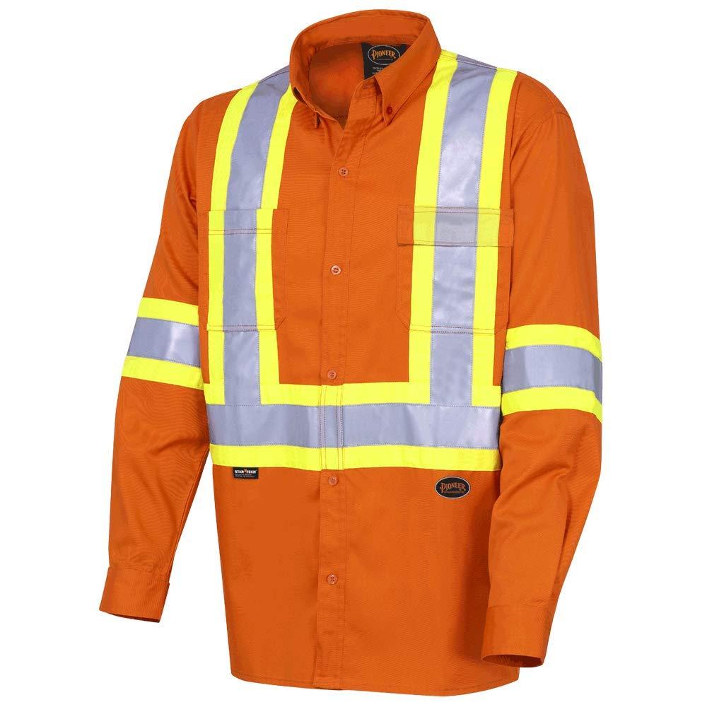 Pioneer CSA 100/% Cotton Lightweight High Visibility Work Safety Shirt Orange Ultra-Cool 2XL V2120510-2XL