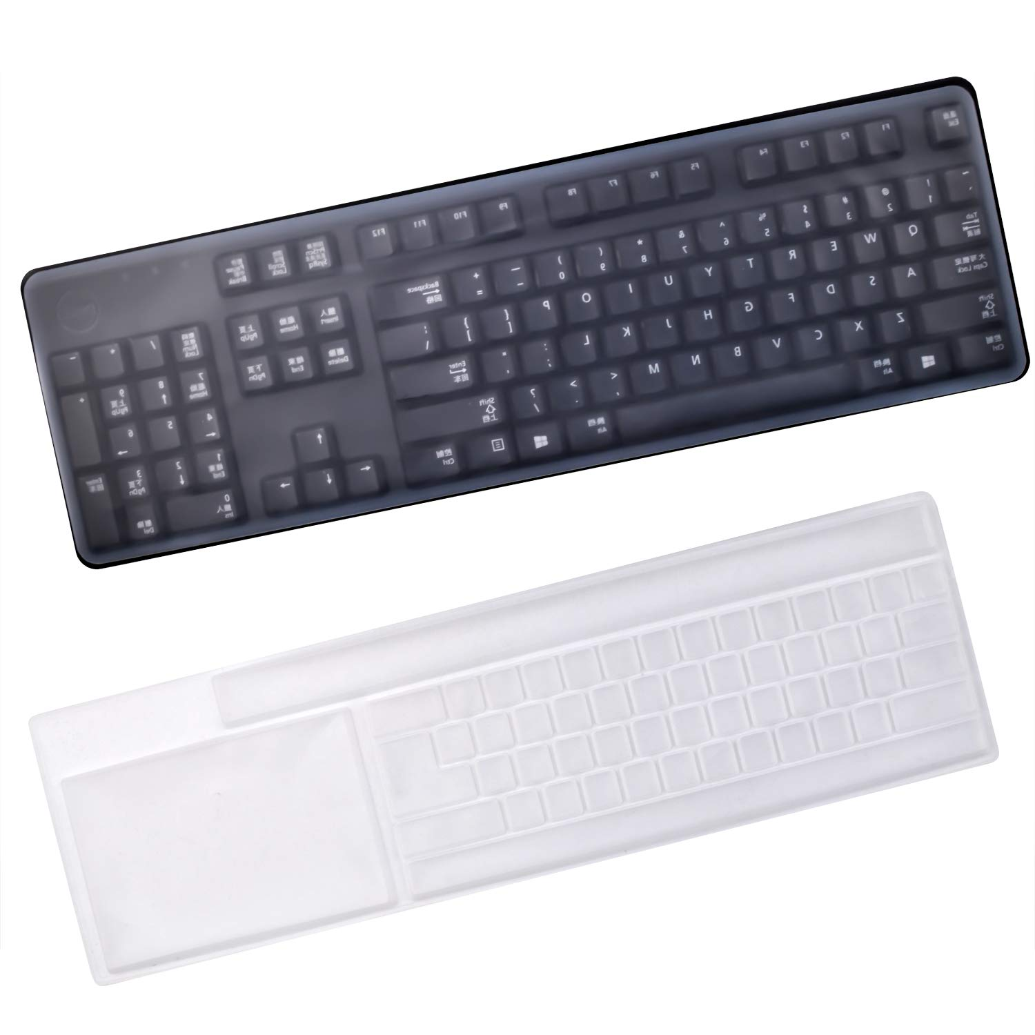 Keyboard Protection Cover 17.6 x 5.5 2 Pieces Anti-Dust Silicone Keyboard Protector Waterproof Clear Keyboard Skin Cover for Standard Size PC Computer Desktop Keyboards Size
