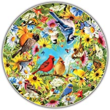 A Broader View's Round Table Puzzle - Backyard Birds by Greg Giordano (500-piece)