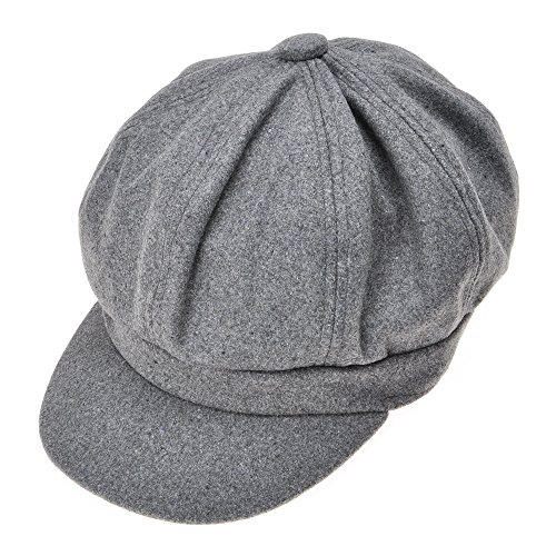 Womens Classic Newsboy Caps Visor 8 Panel Gatsby Apple Cabbie Hat, Gray