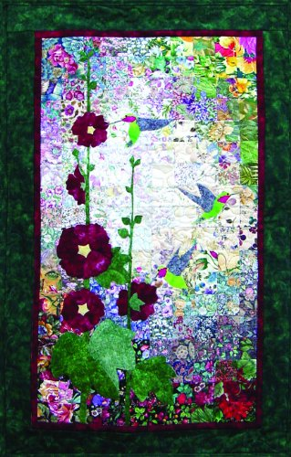 Whims Watercolor Quilt Kits Hummingbirds and Hollyhocks Quilting Supplies -