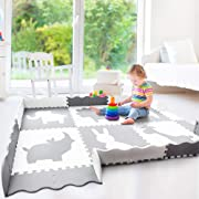 Baby Play Mat with Fence | Large 5' x 7' | Thick Interlocking Foam Floor Tiles with Safari Animals | Neutral, Non Toxic Baby Playmat for Infants, Toddlers and Kids | Grey and White
