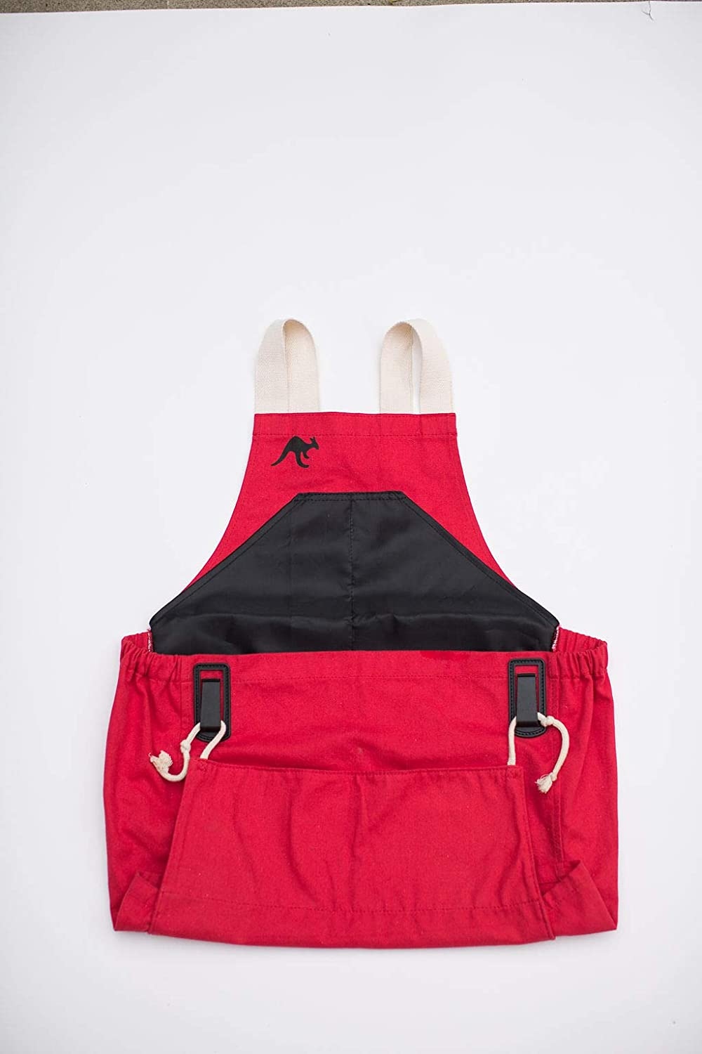 Roo Garden Apron Storage Pockets and Canvas Collection Pouch Red Womens One Size Fits All Cotton Canvas Garden Kitchen and Harvest Smock with Bib Machine Washable
