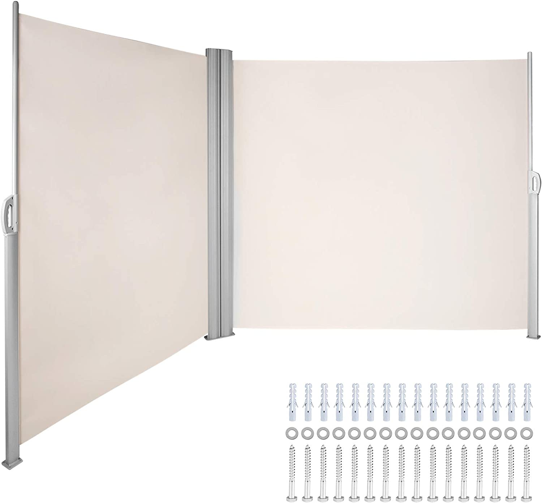 VEVOR Schermo da Patio Retrattile 63x118 Pollici Tende da Sole Paravento Laterale Colore Grigio Protezione da Sole da Giardino Tendalino per Patio Terrazzo