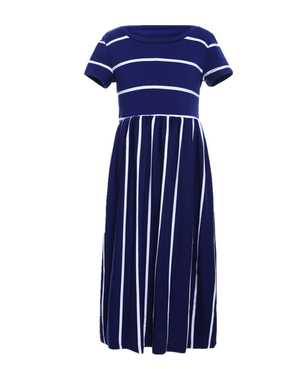 KIDVOVOU Girls Striped Short Sleeve Casual Long Maxi Dress with Pocket Size 4-13,Blue,12-13years by KIDVOVOU (Image #3)