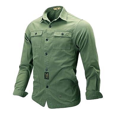Heetey - Camisa de Manga Larga para Hombre, Estilo Militar, Color Puro: Amazon.es: Ropa y accesorios