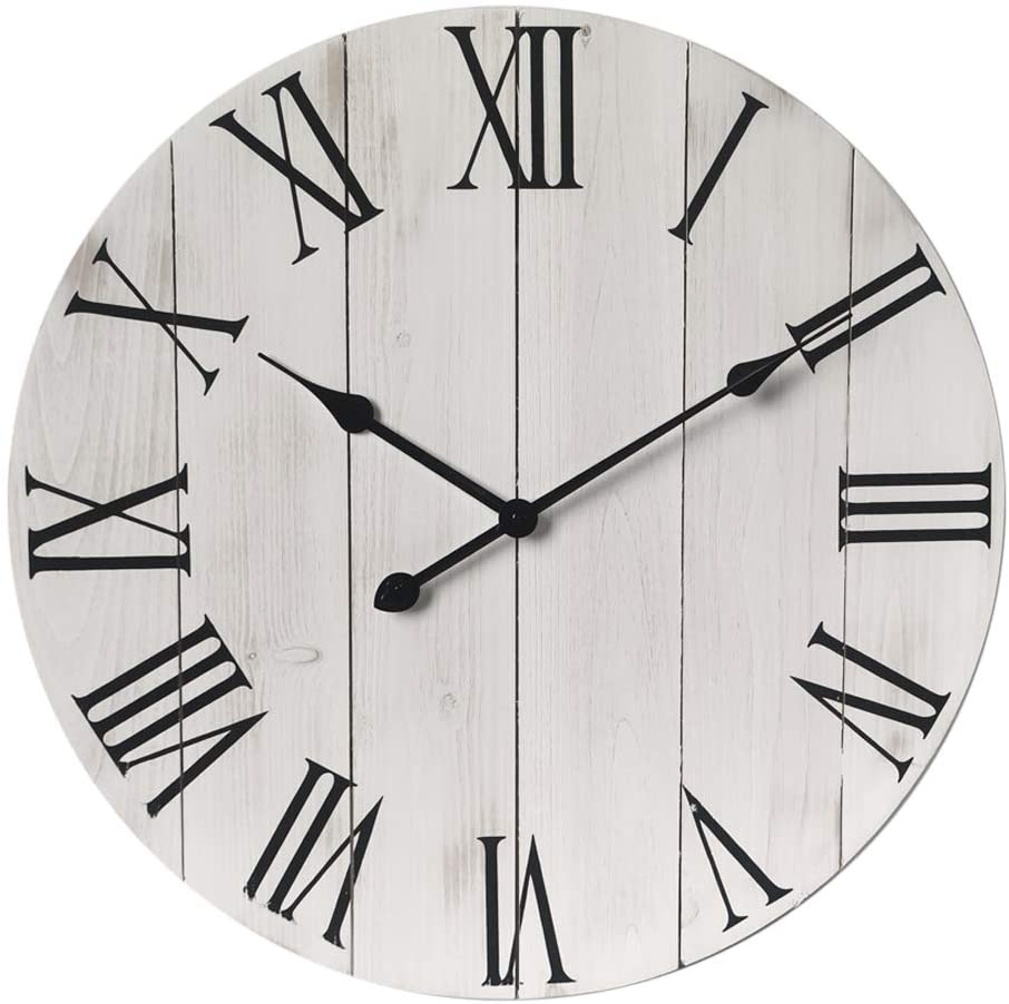 GoodTime 24 Inch Large Rustic Wooden Wall Clock – Oversize Farmhouse Roman Numerals Silent Clock - Big Wooden Wall Clocks for Indoor, Living Room, Bedroom, Kitchen, Dining Room Decor (003)