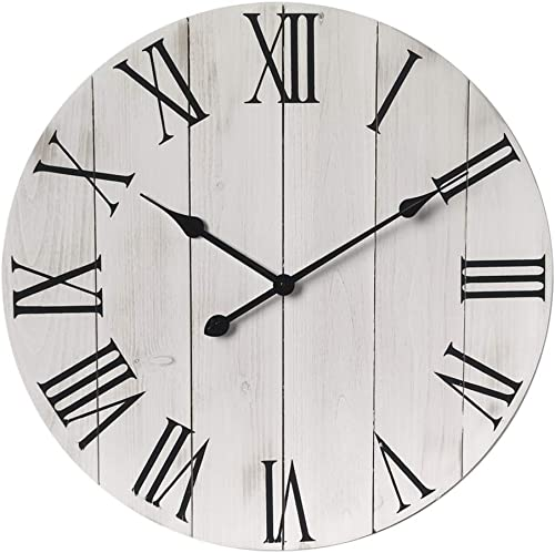 GoodTime 24 Inch Large Rustic Wooden Wall Clock Oversize Farmhouse Roman Numerals Silent Clock