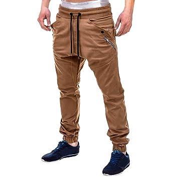 6fe0f18d34 TWBB Los Hombres de Moda de algodón Casual Pantalones con cordón   Amazon.es  Deportes y aire libre