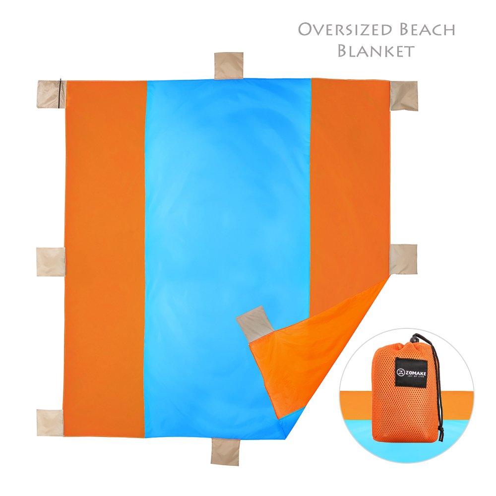ZOMAKEオーバーサイズビーチブランケット砂Proof – Compackポケット毛布Waterprrofのキャンプ旅行 – ファミリサイズマット B079MC7CCL  ブルー/オレンジ
