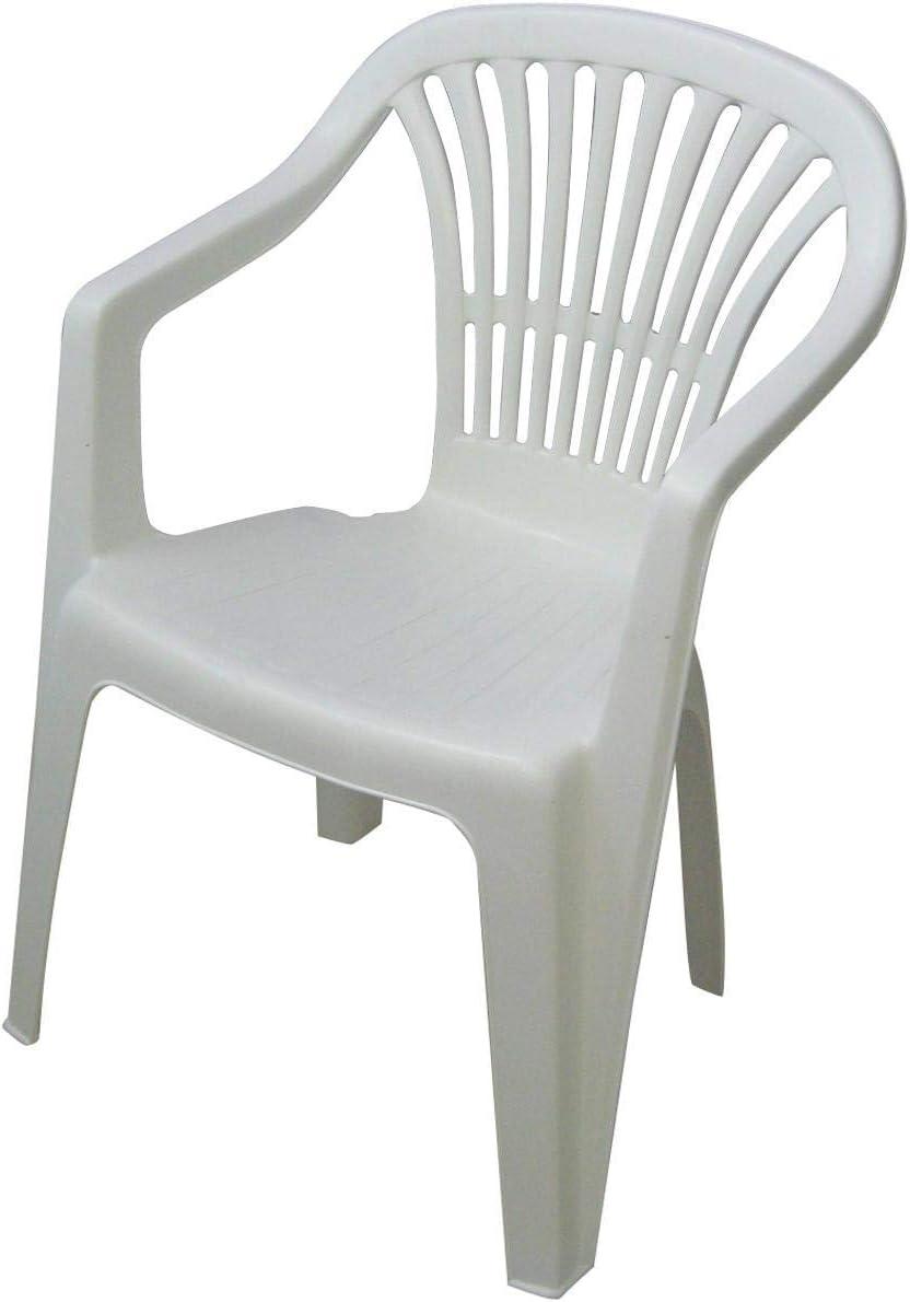 IPAE PROGARDEN Sillon Respaldo BAJO SCILLA Blanco, 54 x 53 x 80