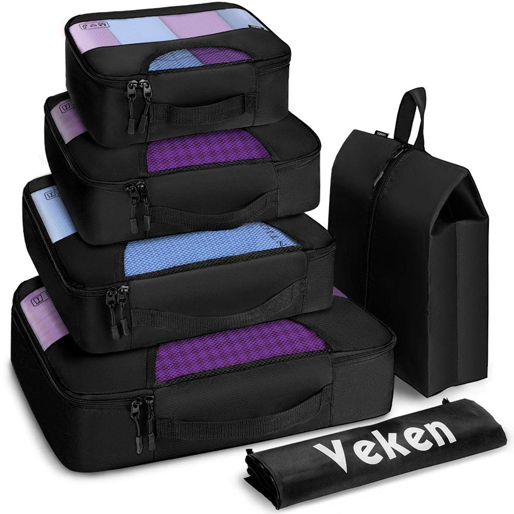 Veken 6 Set Packing Cubes, Travel Luggage Organizers with Laundry Bag & Shoe Bag (Black) by Veken (Image #1)