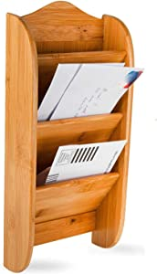 Home Intuition Wall Mount 3-Tier Bamboo Letter Rack Mail Organizer and Holder